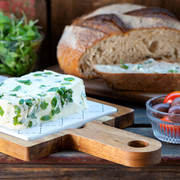 cream cheese block with microleaves