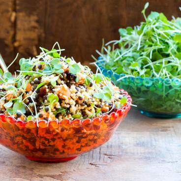 bulgur salad with microleaves