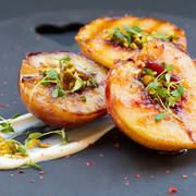 baked peaches with microleaves