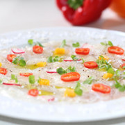 fish carpaccio with microleaves