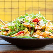 Pasta salad with microleaves