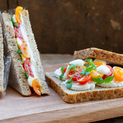 sandwich with basil microleaves