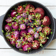 stuffed onions and beets with microleav