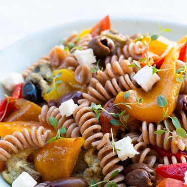 Pasta salad with thyme microleaves