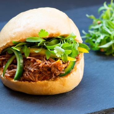 meat and microleaves in bun