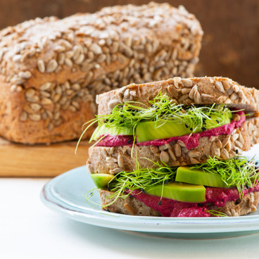 healthy sandwich with microleaves