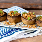 stuffed mushrooms with microleaves