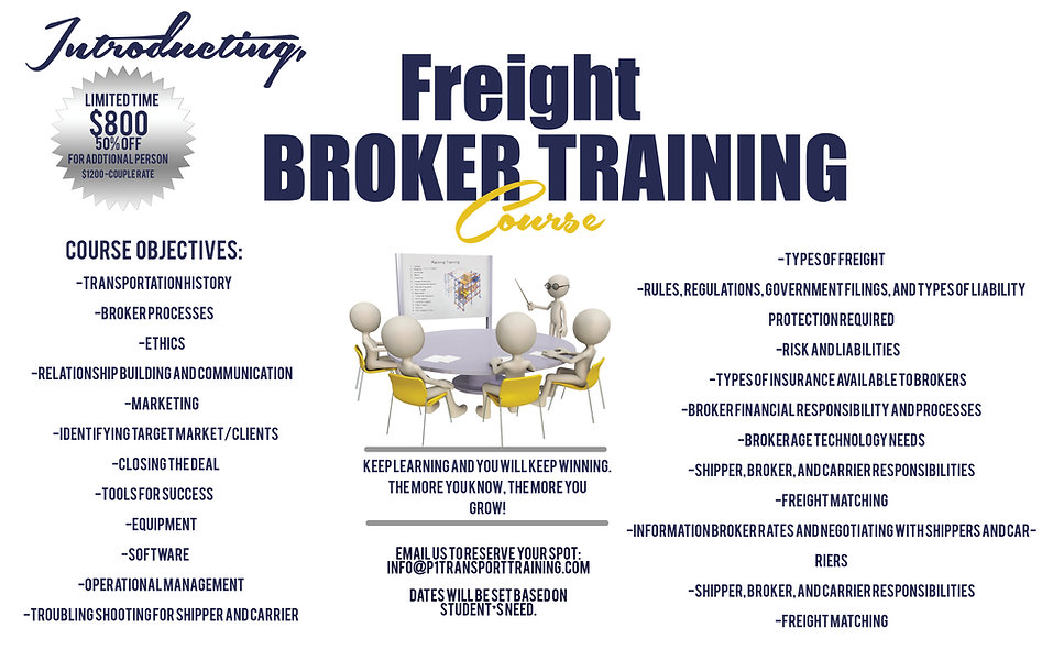 freight broker training, Atlanta freight broker training, online freight broker training, FREIGHT BROKER, freight agent, transportation, shipper and carriers, course objectives