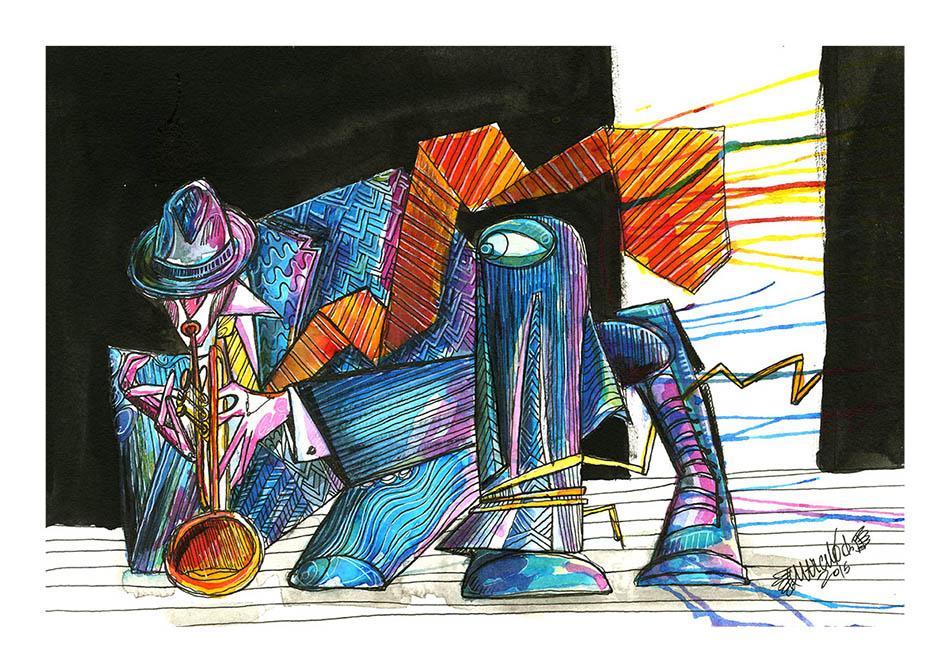 trompete em movimento