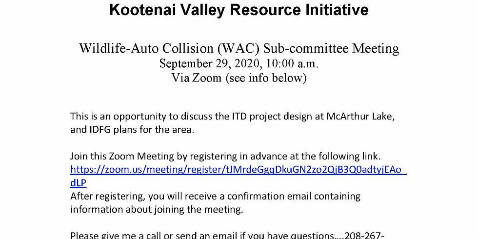 Wildlife-Auto Collision (WAC) Sub-Committee Meeting