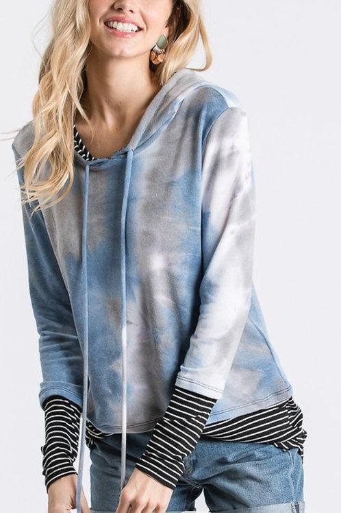 denim & gray hoodie