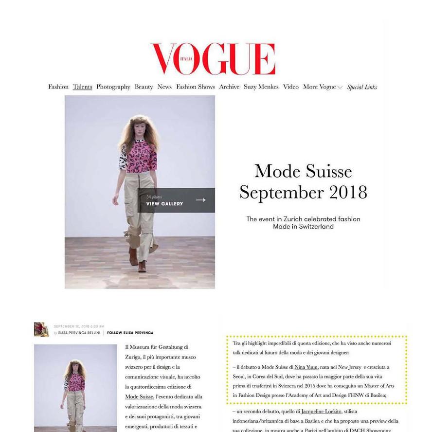 NINA YUUN featured in Vogue Italia, September 2018