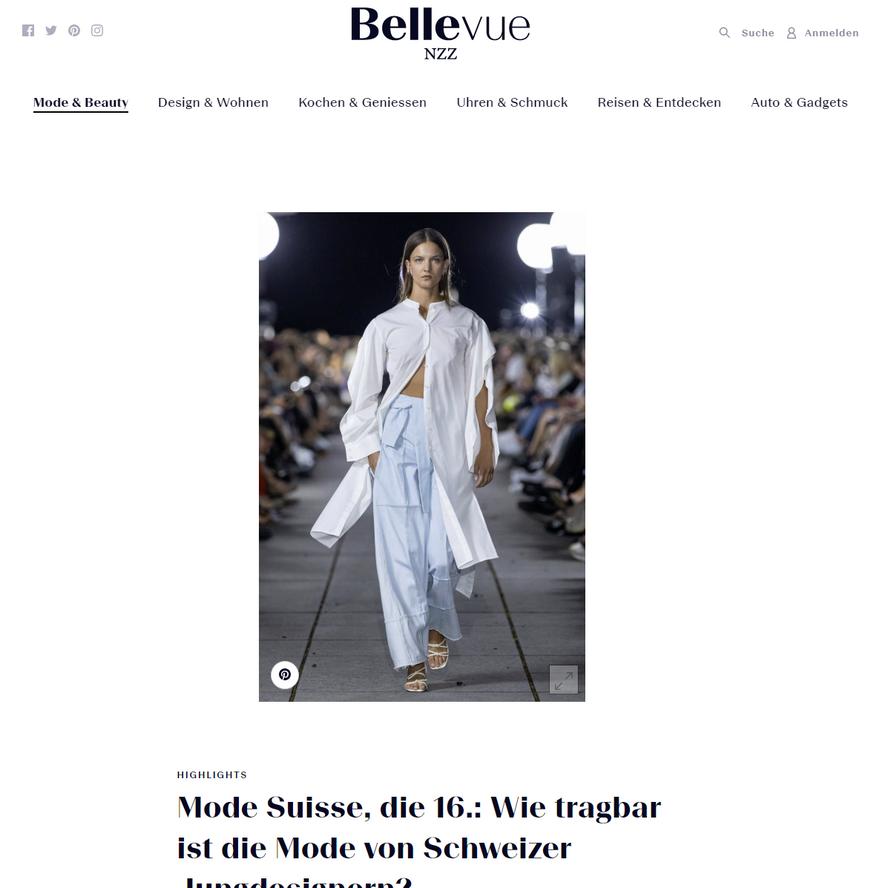 """NINA YUUN featured in NZZ Bellevue """"Mode Suisse, die 16"""", September 2019"""
