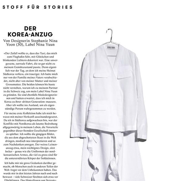 "NINA YUUN featured in Annabelle's ""Stoff für Stories"", February 2019"