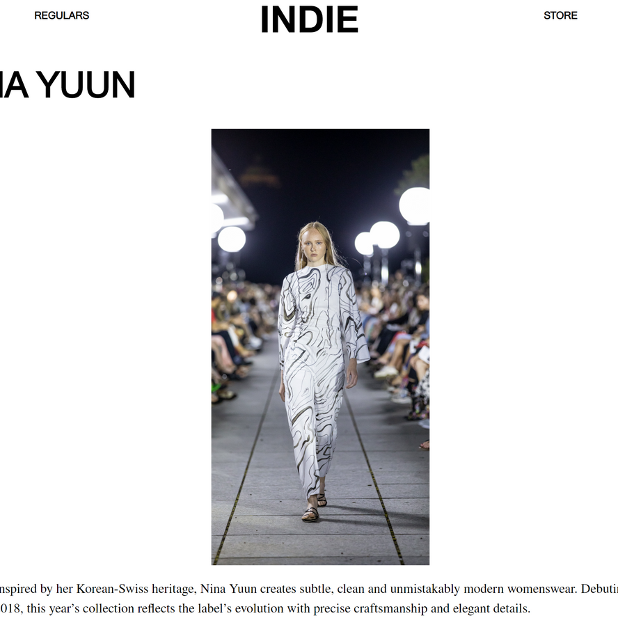 """NINA YUUN featured in INDIE Mag """"MEET 6 DESIGNERS CHANGING THE FACE OF SWISS FASHION"""", September 2019"""