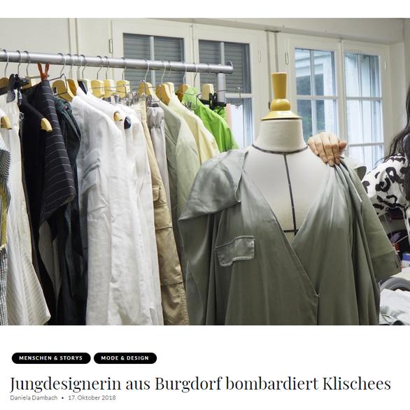 """NINA YUUN featured in MIS Magazine """"Jungdesignerin aus Burgdorf bombardiert Klischees"""", September 2018"""