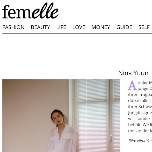 """NINA YUUN featured in femelle """"Diese Schweizer Modellabels lieben wir in 2019"""""""