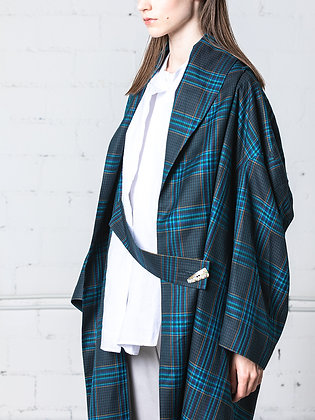 Layered back tartan coat