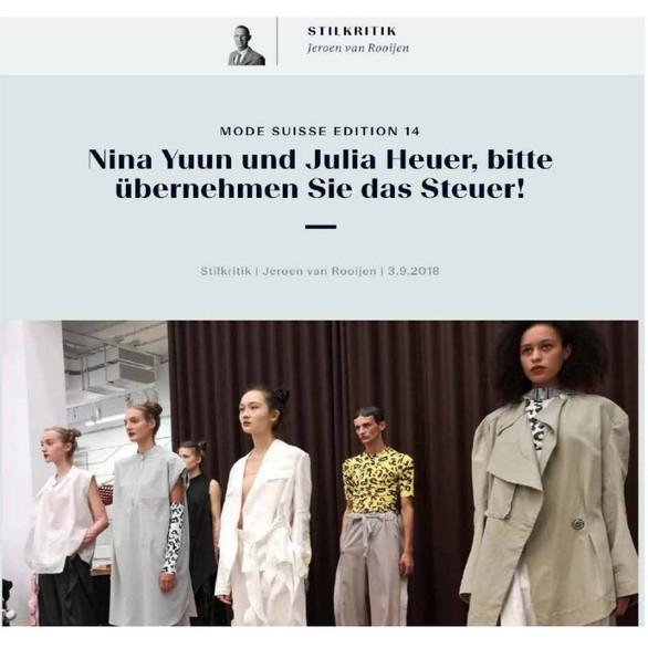 """NINA YUUN featured in """"NZZ Bellevue"""", September 2018"""