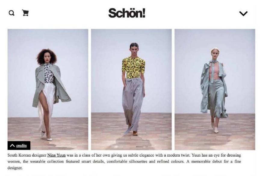 """NINA YUUN featured in """"Schön! magazine"""", September 2018"""