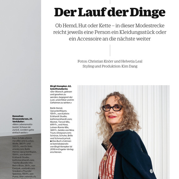 """NINA YUUN featured in """"NZZ Stil: Von Mensch zu Mensch"""", December 2018"""