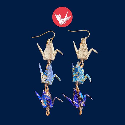 Three-Crane Earrings
