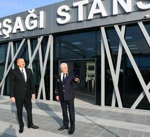 Prezident İlham Əliyev Pirşağı dəmir yolu stansiyasının açılışında iştirak edib