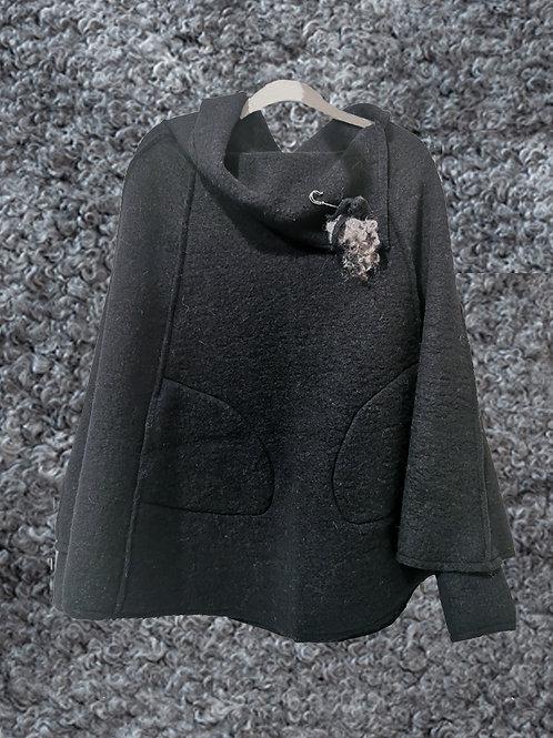 Poncho mörkgrå