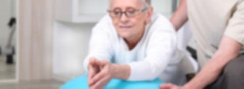 Senior woman recieves rehab therapy at home