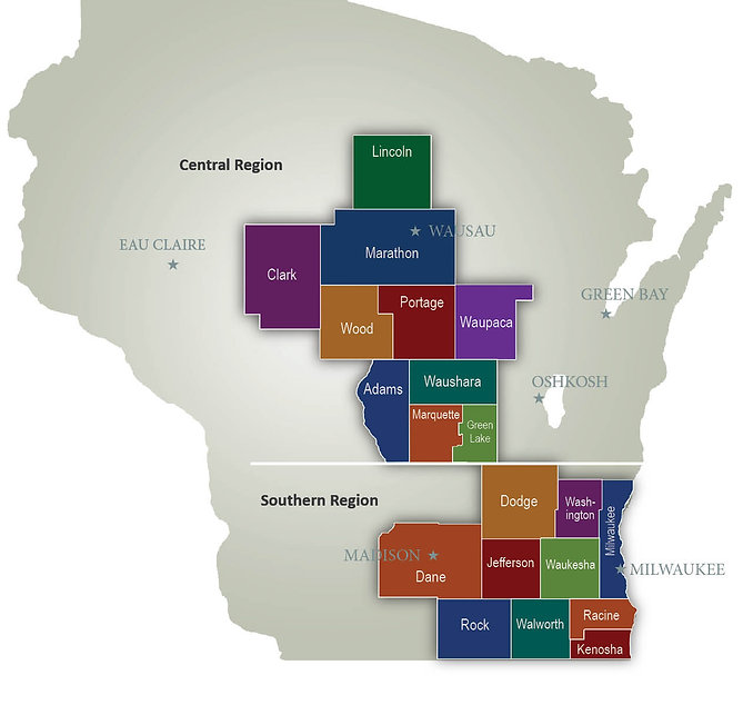 Wisconsin map with central and southern counties
