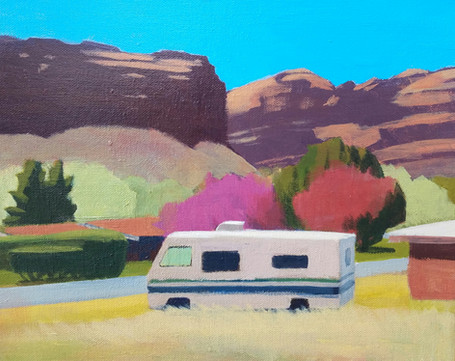 RV and Pink Tree, Moab