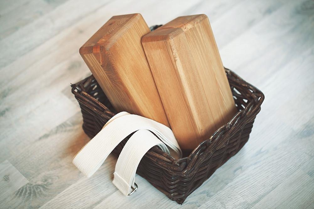yoga bricks in a basket