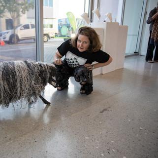 Veronica McGrath  plastic sheep  Repurposed materials : steel wire, paper, bailer twine.