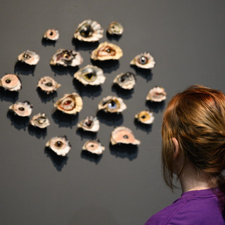 Gemma Ben-Ary  the abyss  Oyster shells, glass eyes, polymer clay 2019