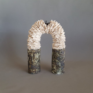 Helen Robins  connecting place  Earthenware paperclay, oxides, wire