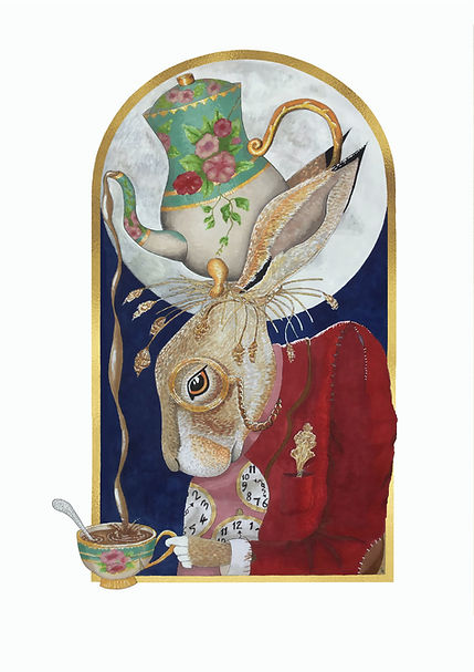 Hare with gold frame