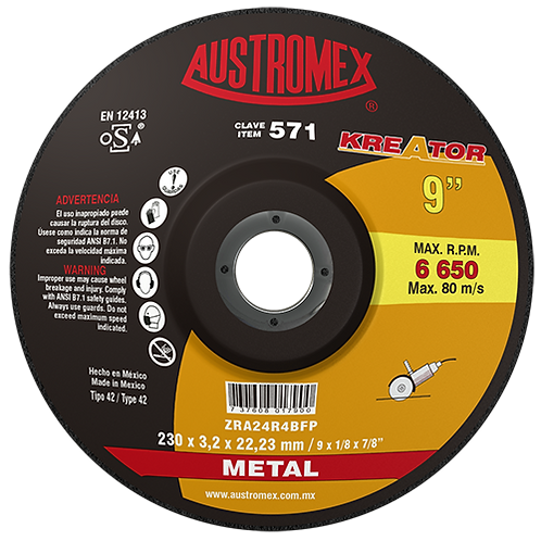 571 Disco corte de metal 9X1/8X7/8