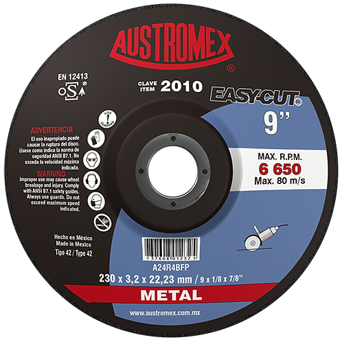 2010 Disco corte de metal 9X1/8X7/8
