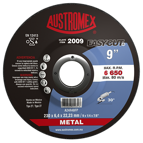 2009 Disco desbaste de metal 9X1/4X7/8