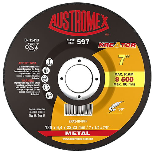597 Disco desbaste de metal 7X1/4X7/8