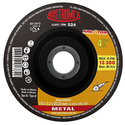 524 Disco corte de metal 4-1/2X1/8X7/8