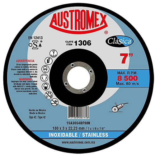 1306 Disco corte inoxidable 7X3/32X7/8