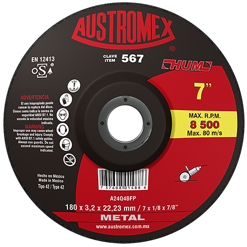 567 Disco corte de metal 7X1/8X7/8