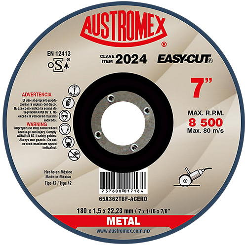 2024 Disco corte de metal 7X1/16X7/8