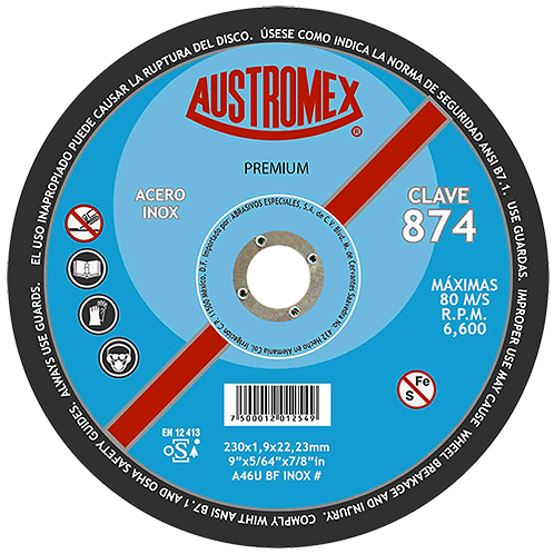 874 Disco corte de inoxidable 9X5/64X7/8