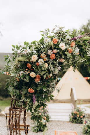 Floral Corner swag on arch