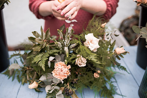 Wedding flowers prep
