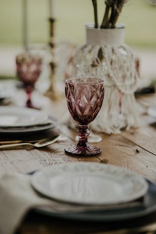 Boho picnic table setting