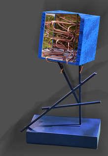 Inox miroire et fils de cuivre 43x22x16 cm