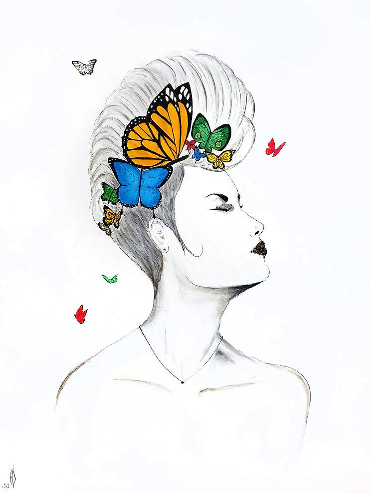 La transformation en reine des papilllons.